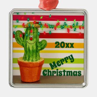 Ornement Carré Argenté Noël du sud-ouest de cactus mignon de vacances