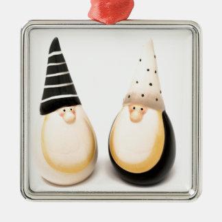 Ornement Carré Argenté Noël en céramique de lutin figure la décoration