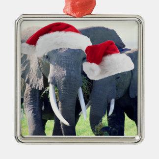 Ornement Carré Argenté Noël inoubliable d'éléphant