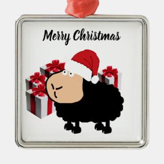 Ornement Carré Argenté Noël mignon drôle de moutons de bande dessinée de