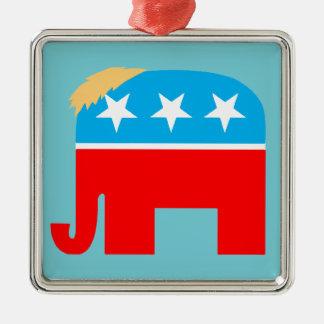 Ornement Carré Argenté Noël républicain de l'éléphant DJT de GOP de