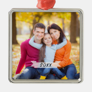 Ornement Carré Argenté Noël simple personnalisable de photo de famille