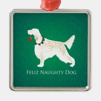 Ornement Carré Argenté Noël vilain de chien de Feliz de poseur anglais
