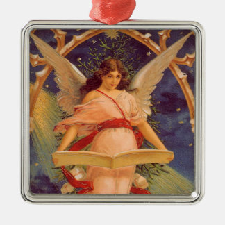 Ornement Carré Argenté Noël vintage, bible victorienne de lecture d'ange