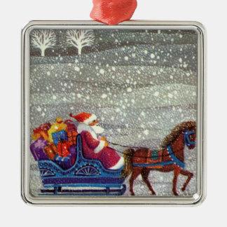 Ornement Carré Argenté Noël vintage, cheval Sleigh ouvert du père noël