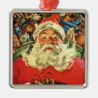 Ornement Carré Argenté Noël vintage, le père noël dans Sleigh avec des