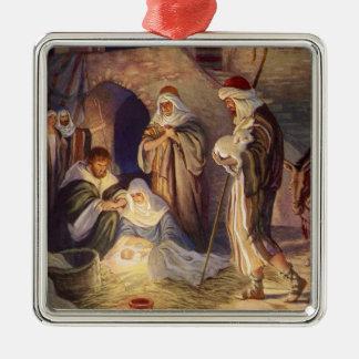 Ornement Carré Argenté Noël vintage, trois bergers et bébé Jésus