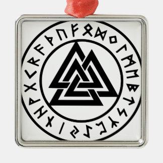 Ornement Carré Argenté Noeud païen Valknut d'Odins de symboles