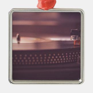 Ornement Carré Argenté Noir d'équipement de vinyle de disque de musique