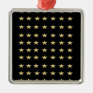 Ornement Carré Argenté Noir d'étoiles chanceuses avec la conception