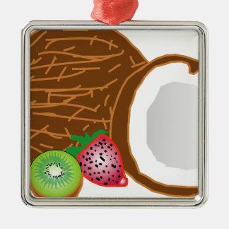 Ornement Carré Argenté Noix de coco tropicales de kiwi