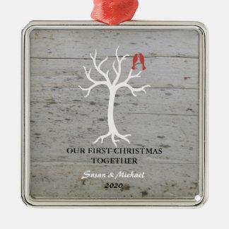 Ornement Carré Argenté Notre premier de Noël arbre d'inséparables