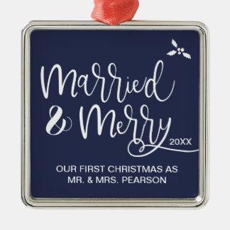 Ornement Carré Argenté Notre premier Noël, marié et joyeux