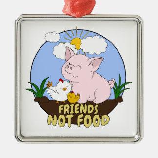 Ornement Carré Argenté Nourriture d'amis pas - porc et poulet mignons