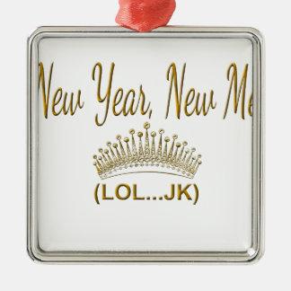 Ornement Carré Argenté Nouvelle année, nouvelle je LOL JK