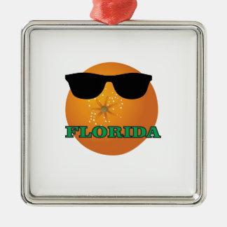 Ornement Carré Argenté nuances vertes de la Floride
