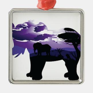 Ornement Carré Argenté Nuit africaine avec l'éléphant