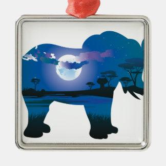 Ornement Carré Argenté Nuit africaine avec l'éléphant 2