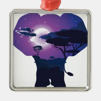 Ornement Carré Argenté Nuit africaine avec l'éléphant 3