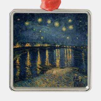 Ornement Carré Argenté Nuit étoilée de Vincent van Gogh | au-dessus du