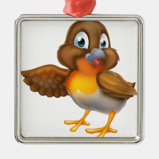 Ornement Carré Argenté Oiseau de Robin de bande dessinée dirigeant l'aile