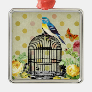 Ornement Carré Argenté oiseau floral, art, conception, beau, nouvelle,