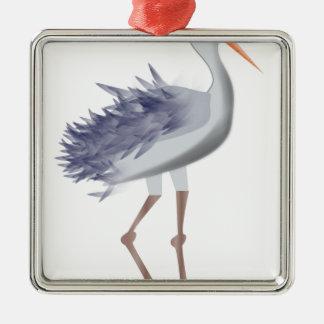 Ornement Carré Argenté Oiseau grand
