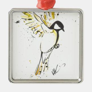 Ornement Carré Argenté Oiseau jaune