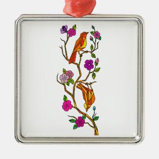 Ornement Carré Argenté Oiseau sur le bas polygone de fleurs de cerisier
