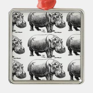 Ornement Carré Argenté or d'hippopotame