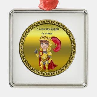 Ornement Carré Argenté Or et chevalier rouge dans son armure et casque