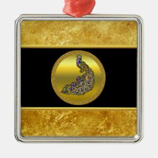 Ornement Carré Argenté Or et feuille d'or pourpre de paon avec le noir