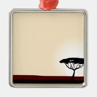 Ornement Carré Argenté Or noir de coucher du soleil d'arbre