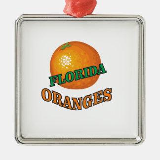 Ornement Carré Argenté Oranges de la Floride