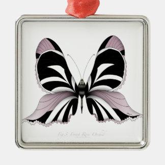 Ornement Carré Argenté Orchidée rose de forêt rose de papillon