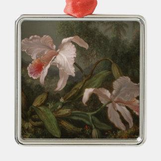 Ornement Carré Argenté Orchidées et colibris de jungle