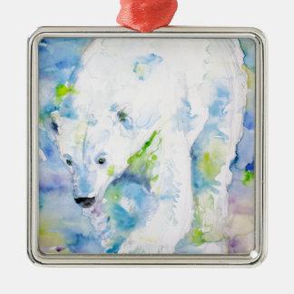 Ornement Carré Argenté ours blanc