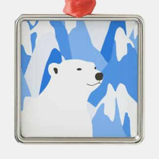 Ornement Carré Argenté Ours blanc dans la conception froide