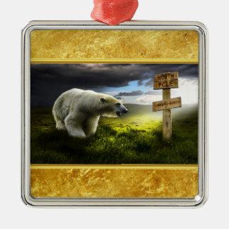 Ornement Carré Argenté Ours blanc regardant le signe en bois de Pôle Nord