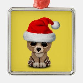 Ornement Carré Argenté Ours de bébé utilisant un casquette de Père Noël