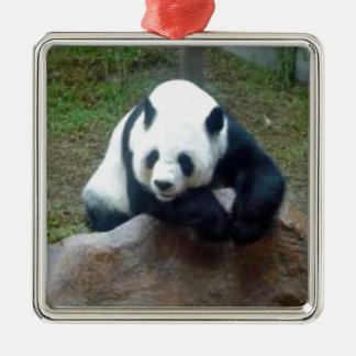 Ornement Carré Argenté Ours panda chinois