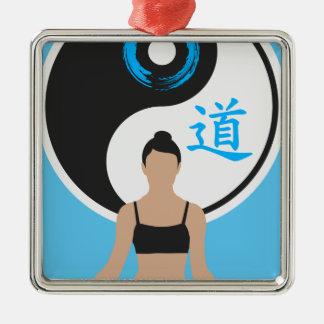 Ornement Carré Argenté Paix de yoga de Yin Yang
