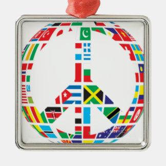 Ornement Carré Argenté Paix globale