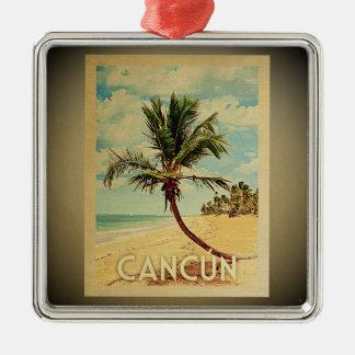 Ornement Carré Argenté Palmier vintage d'ornement de voyage de Cancun