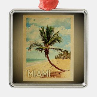Ornement Carré Argenté Palmier vintage d'ornement de voyage de Miami