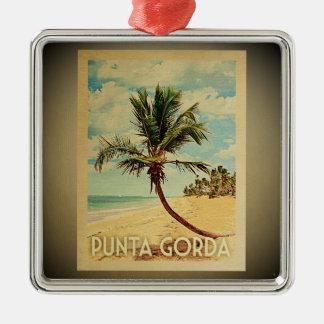 Ornement Carré Argenté Palmier vintage d'ornement de voyage de Punta