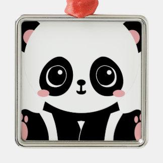Ornement Carré Argenté Panda adorable