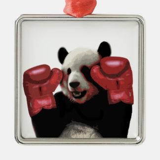 Ornement Carré Argenté Panda de boxe