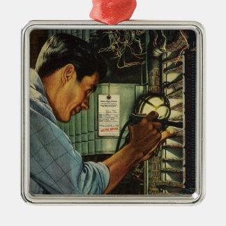 Ornement Carré Argenté Panneau de disjoncteur vintage d'électricien
