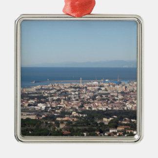Ornement Carré Argenté Panorama aérien de ville Toscane Italie de